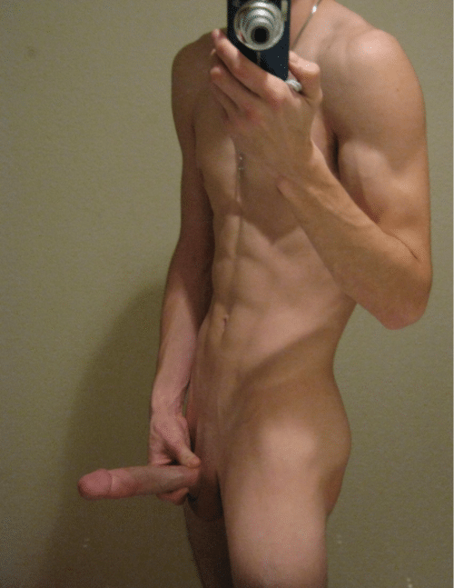Muscular Nude Boy Taking Pics Of His Dick